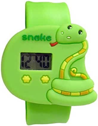 Cartoon Green Snake Unisex Kids Water-resistant Sports Watch Bendable Rubber Strap Wrist Watch