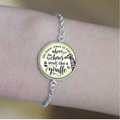 Giraffe Keychain She Knew When to Rise Above The Chaos Boho Style Bronze Pendant Womens Bracelets -Positive Message Jewelry