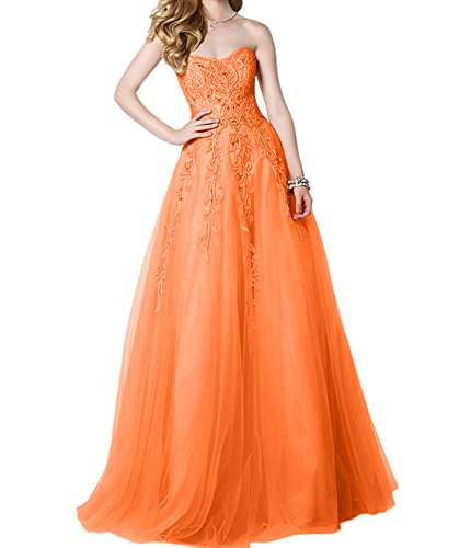 Prinzess Braut Promkleider Orange Abiballkleider Abendkleider 2018 Lang Ballkleider A mia La Rock Tuell Linie Traegerlos x1aa8