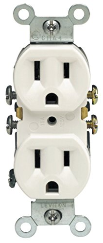 Leviton M24-05320-WMP Straight Blade Duplex Receptacle With Ears, 125 V, 15 A, 2 Pole, 3 Wire, 10 pack, White, Piece ()