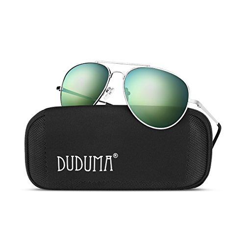 Duduma Premium Full Mirrored Aviator Sunglasses w/ Flash Mirror Lens Uv400 (Silver frame/Gold mirror - Flash Gold Lenses