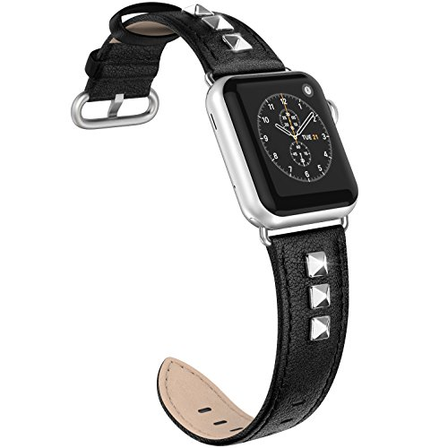 SWEES Genuine Leather Band Compatible for iWatch Apple Watch 40mm 38mm Series 4, Series 3, Series 2, Series 1, Sports & Edition, Bling Dressy Designer Design Small Bands for Women, Black ()