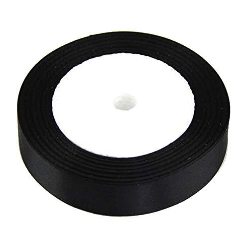 FANRENYOU Silk Satin Ribbon 15MM 22M Decoration Invitation Card Gift Scrapbooking Supplies Black