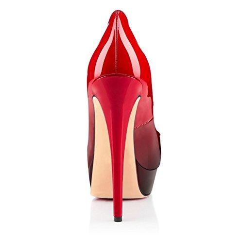 EKS rojo y negro Rojo Mujer Tacón Zapatos de 6wrxq16