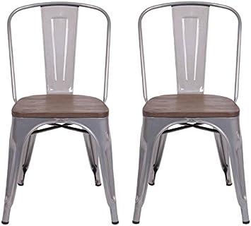 Amazon Com Carlisle High Back Metal Dining Chair 2 Pack Ships Flat Natural Metal Threshold Chairs