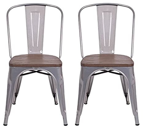 Amazon.com: Carlisle Respaldo Alto metal silla de comedor ...