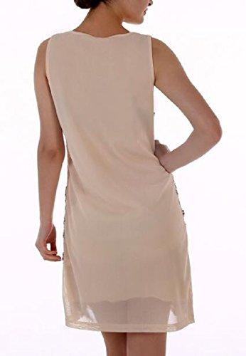 Taille Confortable Partie Des Femmes Sequin Robes Sans Manches Abricot Brillant