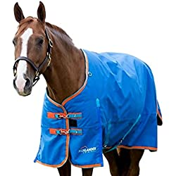 Shires Highlander Plus 200 Standard Neck, Royal Blue with Orange and Light Blue Trim, 78""