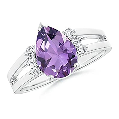 Angara Solitaire Pear Amethyst Split Shank Ring With Linear Diamond Accents wKo8T