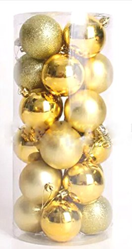 24pcs Christmas Balls Ornament Shatterproof Pendants for Holiday Xmas Garden Decorations (Gold) by Genuisbaby (Image #1)