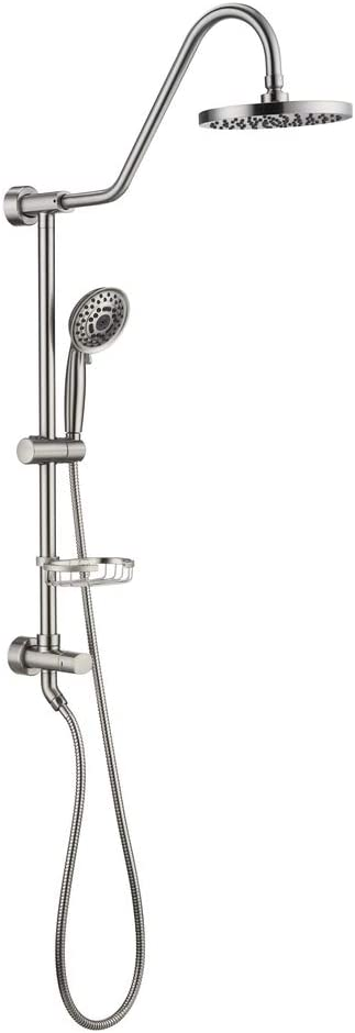 Shower System with 8 Rain Showerhead, Homelody 5-Function Hand Shower, Adjustable Slide Bar and Soap Dish, Brushed Nickel