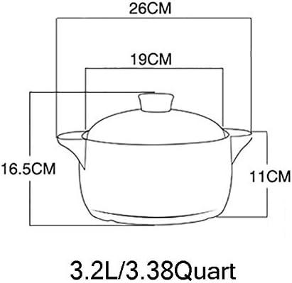 LIUSHI Pot de Bibimbap coréen de Motif de Fleur, Plat de Casserole Couvert en céramique avec Le Couvercle Jaune 3.38Quart