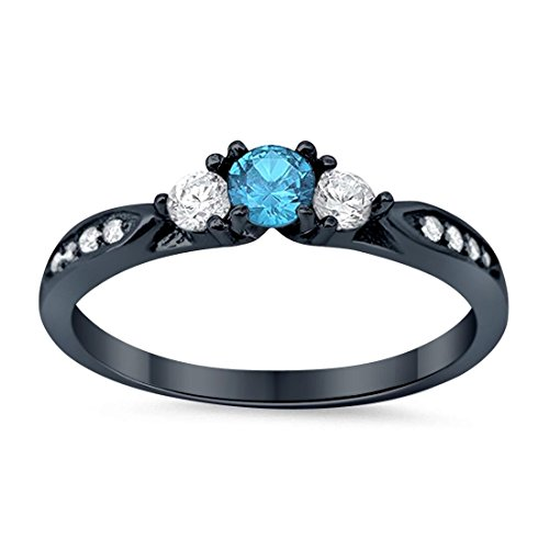 3-Stone Wedding Engagement Ring Simulated Aquamarine CZ Round Cubic Zirconia Three Stone Black Tone 925 Sterling Silver, - Aquamarine Wedding Round Set