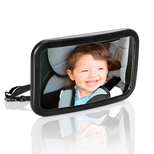 (Baby Car Mirror Safety Car Seat Mirror for Rear Facing Infant with Wide Crystal Clear View Shatterproof Fully Assembled Crash Tested and Certified)