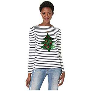 Joules Harbour Luxe Womens Long Sleeve Jersey Top – Cream Navy Star