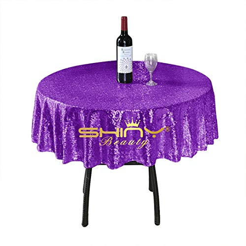 ShinyBeauty Sequin Tablecloth-Purple-48Inch Round Sparkle Tablecloth,Glitter Table Cloth,Sequin Wedding (Halloween Sparkle)