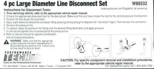 Performance Tool A//C and Fuel Line Disconnect Set