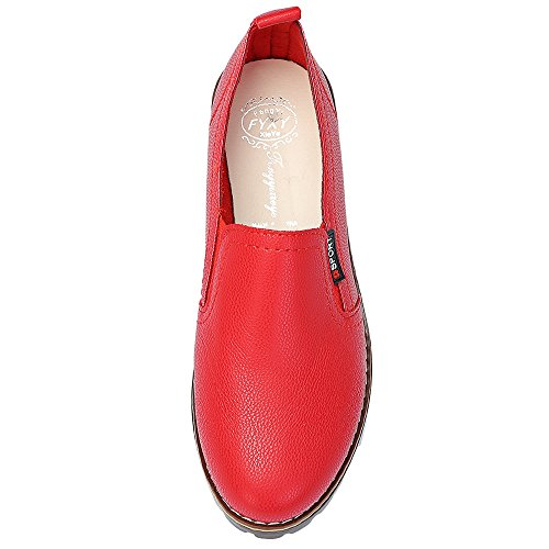 on Rosso Slip Scarpe Pu Vintage Tacco Toe Donna Basso Pelle A Punta Grosso ZFZSxfn