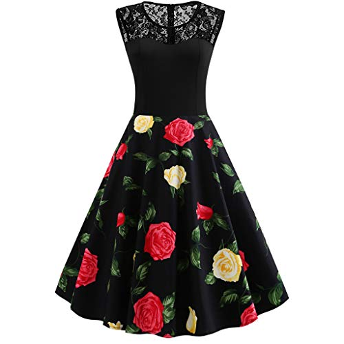 CCatyam Plus Size Dresses for Women, Skirt Lace Print Wrapped Swing Vintage Sexy Party Casual Fashion Yellow