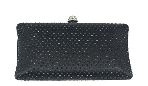 Chicastic Black Rhinestone Crystal Hard Box Wedding Cocktail Evening Clutch Bag