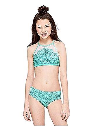 3d90ab51b Amazon.com: Justice Swim Mesh Mermaid Scale High Neck Bikini Blue ...