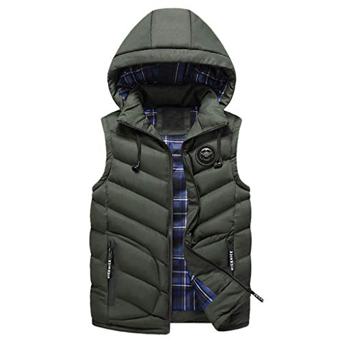 YOcheerful Winter Vest Fashion Men Autumn Hooded Solid Outwear Vest Pockets Jacket Tops Army Green