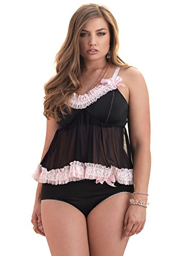 Leg-Avenue-Womens-Plus-Size-2-Piece-Love-Set-Mesh-Babydoll-and-Panty