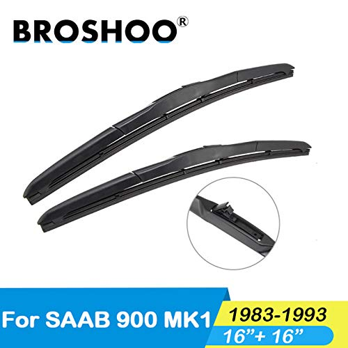 Wipers Hukcus Auto Rubber Wiper Blades For Saab 900 MK1,Fit Standard Hook Arms 1983 1984 1985 1986 1987 1988 1989 1990 1991 1992 1993 - (Color: 900 MK1 1616)