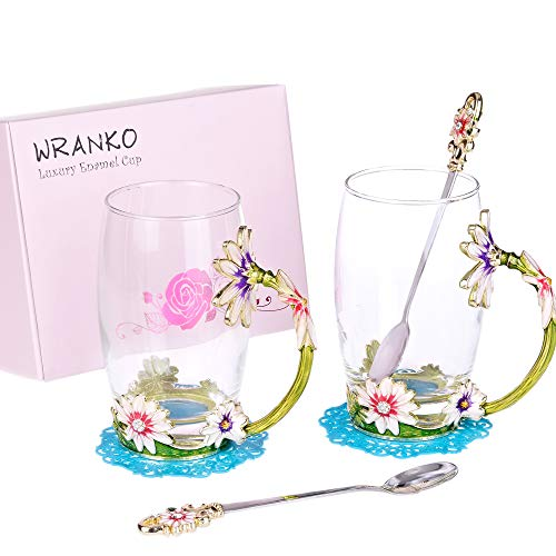 WRANKO Glass Tea Cups Set(2 Pack,12oz) Enamelled Tea Mug with Enamel Spoon and Handle,Handmade Flower Daisy Decoration Porcelain Lead-Free Teacups,Coffee Drinking Mugs Festival Gift Ideas