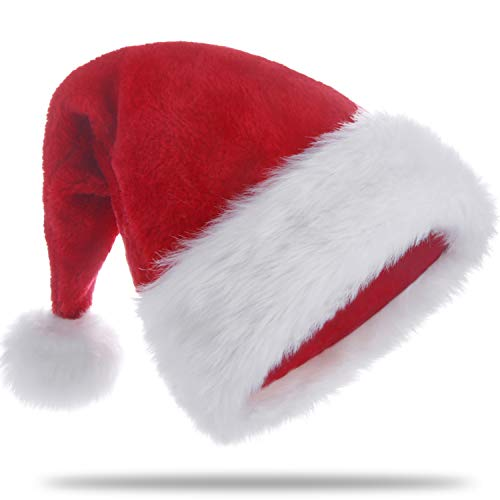 HUICOCY Santa Hat,Unisex Velvet Fabric Christmas Hat with Comfort Lining&Plush -