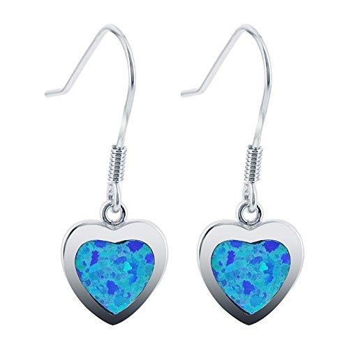 (925 Sterling Silver Created Opal Heart French Hook Drop Earrings)