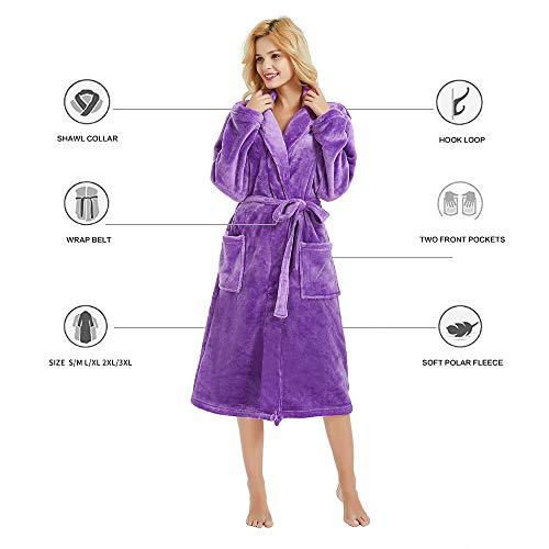 0ac802e39d M M Mymoon Womens Fleece Robe Soft Plush Bathrobe Long Thicken Warm Kimono  Shawl Collar One Piece