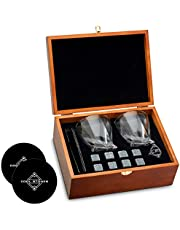 Whiskey Stones and Whiskey Glass Gift Boxed Set - 8 Granite Chilling Whisky Rocks + 2 Glasses in Wooden Box - Great Gift for Father's Day, Dad's Birthday or Anytime For Dad (+ 2 Free Coasters)
