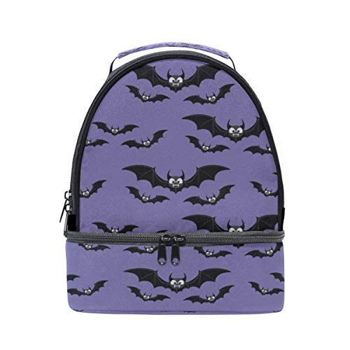 Bento Lunch Large Capacity Black Night Bat Clear Double Layer Lunch Bag Women Picnic Sturdy Bento Lunch Box Dinner For Adult Case With Shoulder Strap -