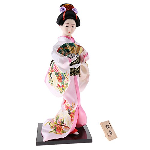 MonkeyJack 12inch Japanese Kimono Doll Geisha Figurine with Fan Ornaments Gift Art Craft Collectables Pink]()