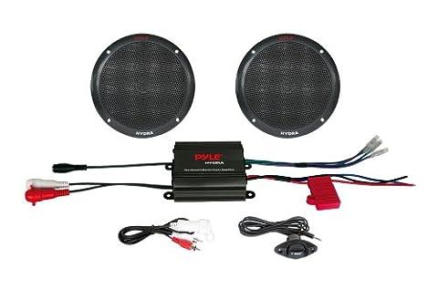 Pyle PLMRKT2B 2 Channel 400 Watt Waterproof Micro Marine Amplifier and 6.5-Inch Speaker System (Crossover 8 Ohm Speaker 2 Ohm)