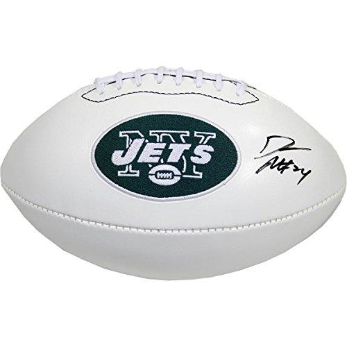 Darrelle Revis Signed White Panel Jets Logo Football