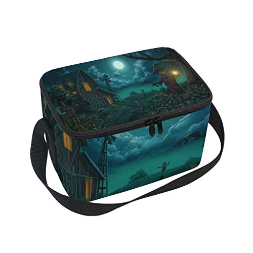 Halloween Horror Cottage Insulated Lunch Bag Tote Bag Cooler Lunchbox for Picnic School Women Men -