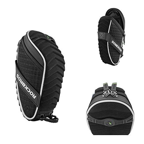 RockBros 3D Shell Saddle Bag Cycling Seat Pack for Mountain Road Bike Black (Black Upgrade Straps)