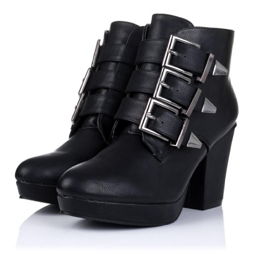 Block Heel Buckle Platform Biker Ankle Boots Black Synthetic Leather