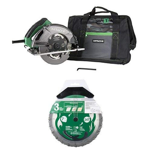 Hitachi C7SB3 15 Amp 7-1/4 inch Circular Saw and 3 Pack VPR Blades