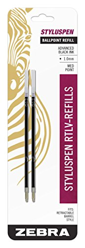 (Zebra StylusPen Retractable Ballpoint Pen Refill, Medium Point, 1.0mm, Black Ink, 2-Count)