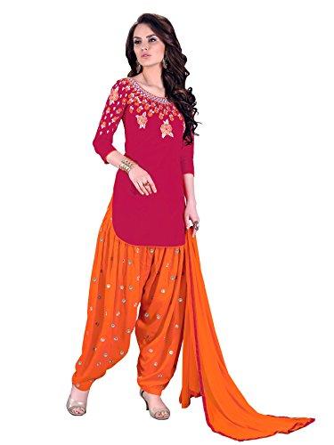 (Ready Made Patiala Salwar Embroidered Cotton Salwar Kameez Suit India/Pakistani Dress OF 9006 (X-LARGE))