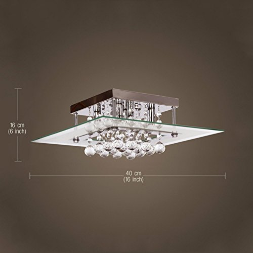 Lightess Mini Chandeliers Contemporary Crystal Drop Flush Mount Ceiling Lights Fixture with 5 Lights in Square Design by LIGHTESS (Image #2)