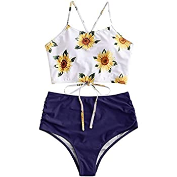 Amazon.com: ZAFUL Women Crisscross Ruched Sunflower