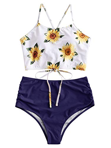 ZAFUL Women Crisscross Ruched Sunflower Tankini Set 2 Pieces Adjustable Spaghetti Straps Swimwear Lapis Blue