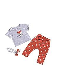 OMDPZwe 3pcs Baby Girls Ruffle Outfits,Cute Fox Short Sleeve Shirt Top Bohemian Dots Red Pants Bowknot Headband Clothes Set