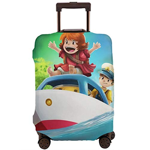 Anime Ponyo On The Cliff Travel Luggage Cover Suitcase Protector Washable Baggage Luggage Covers Zipper Fits 18-20 Inch