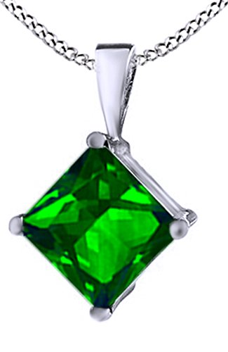 Jewel Zone US Princess Cut Simulated Green Emerald Pendant Necklace in 14k White Gold Over Sterling Silver(1.5 Ct)