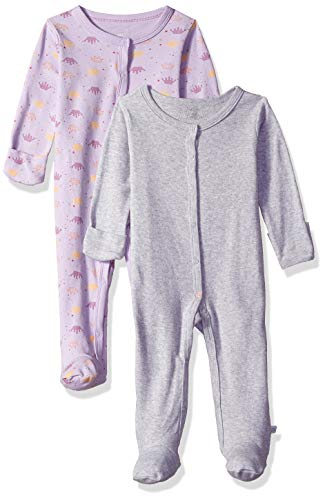 Rosie Pope Kids' Toddler Baby Girls' 2 Pack Coveralls, Gray/Lavender, 3-6 Months
